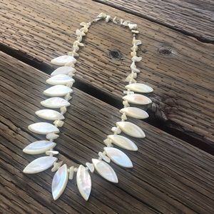 Vintage Sea Shell Bead Statement White Necklace